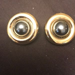 Carolee Gray Pearl with Gild Trim Clip On Earrings